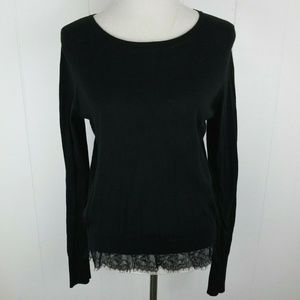 Victoria's Secret Black Lace Hem Sweater Knit Top
